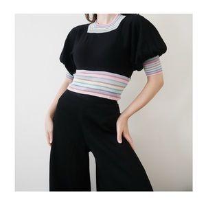 Vintage 70s Rainbow Stripe Puff Sleeve Knit Top
